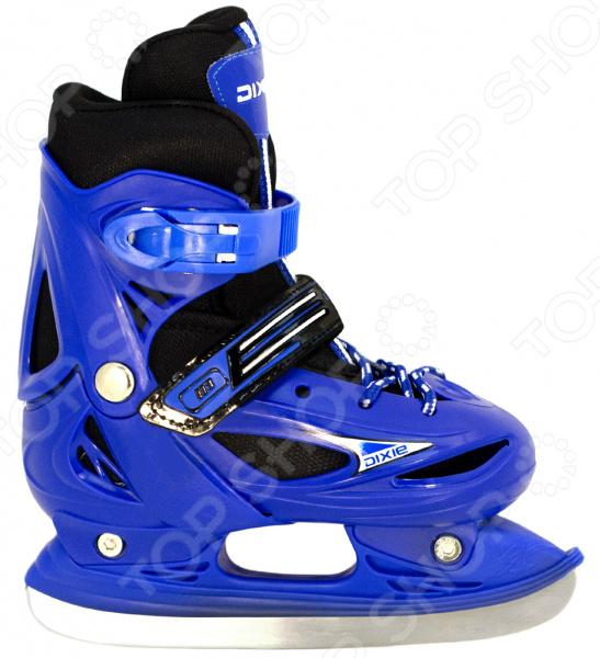 Коньки детские раздвижные ICE BLADE DixieКонькобежный спорт<br>Коньки раздвижные ICE BLADE Dixie предназначены для детей и подростков, а также для тех, кто делает первые шаги в катании на льду. Представленная модель выполнена в ярком молодежном дизайне, имеет яркую расцветку и рекомендована для использования на открытом и закрытом льду. Удобная трехуровневая система фиксации ноги сделает катание на льду невероятно комфортным и безопасным. Ботинок изготовлен из прочного и морозоустойчивого пластика, а внутренняя часть обработана теплым текстильным материалом. Хоккейные лезвия коньков выполнены из высокоуглеродистой стали с никелевым покрытием, что гарантирует прочность и долговечность. Они уже заточены, а значит вы можете сразу приступать к катанию, а не тратить время и деньги на первую заточку.<br>