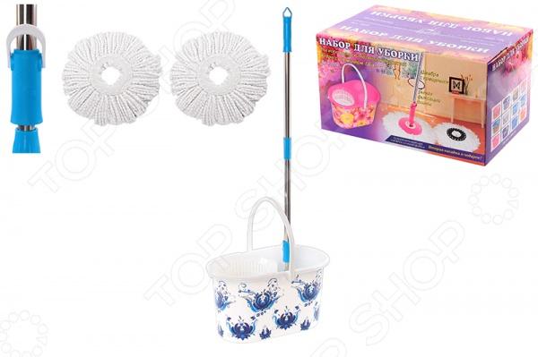 Набор для уборки: швабра, ведро и насадки Violet 09000/78 «Гжель»