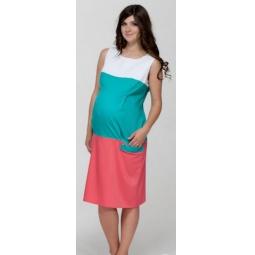 Купить Платье для беременных Nuova Vita 2122.02. Цвет: белый, бирюзовый, коралловый