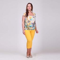 фото Брюки женские Milana Style «Виктория». Цвет: желтый. Размер одежды: 52