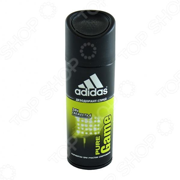 Дезодорант-спрей мужской Adidas Pure GameДезодоранты мужские<br>Дезодорант-спрей мужской Adidas Pure Game обеспечивает длительную защиту от неприятного запаха и контролирует потоотделение. Этот аромат был разработан специально для настоящих мужчин: сильных, активных выносливых. Этот аромат для мужчин, у которых в жизни нет непреодолимых преград. Верхние ноты аромата мандарин, грейпфрут, базилик, перец переплетаются с нотами сердца лаванда, кипарис, гваяковое дерево и завершаются нотами шлейфа пачули, бобы, тонка, ладан .<br>