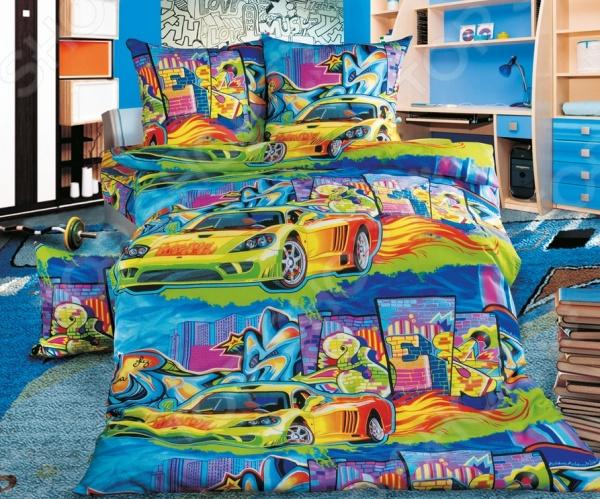 Детский комплект постельного белья Бамбино «Граффити» комлев и ковыль