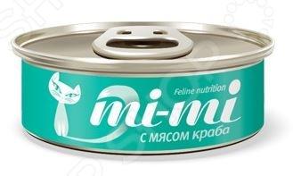 Корм консервированный для кошек Mi-Mi с мясом крабаВлажные корма<br>Корм консервированный для кошек Mi-Mi с мясом краба полноценное и сбалансированное питание для вашего питомца. Рацион изготовлен из отборных ингредиентов и обогащен всеми необходимыми витаминами и минералами. Он полностью удовлетворяет потребность животных в энергии и легкоусвояемом белке, способствует профилактике мочекаменных заболеваний и оказывает благотворное воздействие на работу сердца и органов зрения. Корм не содержит в своем составе красителей и ароматизаторов. Филе тунца и мясо краба, входящее в состав рациона, является природным источником жирных кислот Омега 3 и Омега 6:  Омега-3 является структурным компонентом клеточных мембран и способствует поддержанию тонуса кровеносных сосудов.  Омега-6 способствует улучшению состояния кожи и шерсти животного. Состав: филе тунца 47,4 , мясо краба 3,6 , загуститель 1,2 , яичный порошок 0,1 , куриный бульон 47,69 , витамин Е 0,01 . Пищевая ценность: протеин 12 , жир 0,5 , зола 3 , клетчатка 1 , влажность 85 . Энергетическая ценность: 46 ккал на 100 г.<br>