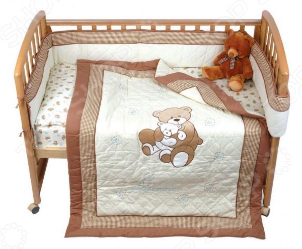 фото Комплект в кроватку Мир детства «Бурый мишка», Постельные принадлежности для новорожденных