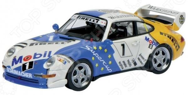 Модель автомобиля 1:43 Schuco Porsche 911 Cup #1Модели авто<br>Модель 1:43 Porsche 911 Cup 1 представляет собой точную копию настоящего немецкого спортивного автомобиля. Коллекционная модель выпущена известной компанией по производству игрушек Schuco. Особенность коллекции в том, что все игрушки изготовлены по лицензии именитых автопроизводителей. Машина изготовлена из смолы и обладает потрясающей детализацией. Яркий автомобиль разнообразит игровые ситуации, откроет новые сюжеты для маленького автолюбителя и поможет развить мелкую моторику рук, внимание и координацию движений. Модель 1:43 Porsche 911 Cup 1 является отличным подарком не только ребенку, но и коллекционеру.<br>