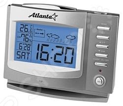 Метеостанция Atlanta ATH-2503 это достаточно популярный прибор в современном мире. С ее помощью вы сможете всегда контролировать температуру и влажность в помещении, где находитесь. А это будет весьма полезно для семей, где есть дети. У этой модели предусмотрена возможность измерения температуры, сохранения температурных значений, измерения влажности внутри помещения. Кроме этого, здесь есть встроенные часы, будильник и календарь. Результаты всех измерений отображаются на большом дисплее с подсветкой синего цвета.