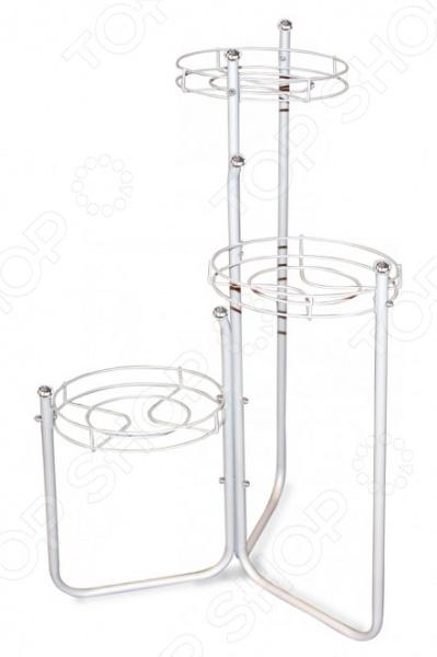 Подставка для цветов Sheffilton Каскад 2 это мобильная подставка для цветов, которая может стать универсальным решением для любого помещения. Цветочница кованная, основание выполнено из металлического листа D350 мм, каркас сделан из металлической трубы D12 мм, прутка D3 мм , пластиковой фурнитуры D24 мм и чаш для горшков диаметром 200 мм. На подставке предусмотрено 3 места для цветочных горшков. Максимальная нагрузка на корзину составляет 3 кг, есть возможность регулировать вид расположения кронштейнов. Подставка полностью разборная.