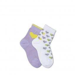 фото Комплект детских носков Teller Lovely Hearts. Цвет: белый, светло-фиолетовый. Размер: 23-26