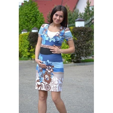 Купить Платье для беременных Nuova Vita 2101. Цвет: бежевый, голубой