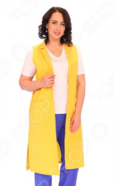 Жакет СВМ-ПРИНТ «Стильная Дама». Цвет: желтыйЖакеты. Пиджаки<br>Жакет СВМ-ПРИНТ Стильная Дама это жакет прилегающего силуэта, который подходит женщинам с любой фигурой. Жакет гармонично смотрится как блузкой, так и кофтой. Вы можете носить его как на работу, так и на романтический вечер.  Спереди 2 накладных кармана, а по бокам 2 разреза.  Длина ниже колена.  Швы обработаны текстурированными, эластичными нитями, благодаря чему швы тянутся и не натирают.  На фото с футболкой Пани и брюками Лот 1019 . Жакет выполнен из мягкой ткани 60 хлопок, 40 пан , которая не линяет и не скатывается, быстро высыхает после стирки.<br>