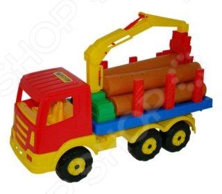 Машинка игрушечная Полесье «Лесовоз»Машинки<br>Машинка игрушечная Полесье Лесовоз игрушечный автомобиль, выполненный в красочных тонах. На платформе лесовоза находятся мелкие детали в виде бревен. Ребенок сможет сгружать бревна и ставить обратно вручную или с помощью подвижного подъемного крана. Машинка позволит ребенку ознакомиться с различной спецтехникой и ее предназначением. Лесовоз станет прекрасным подарком для ребенка и позволит увлекательно провести свой досуг.<br>