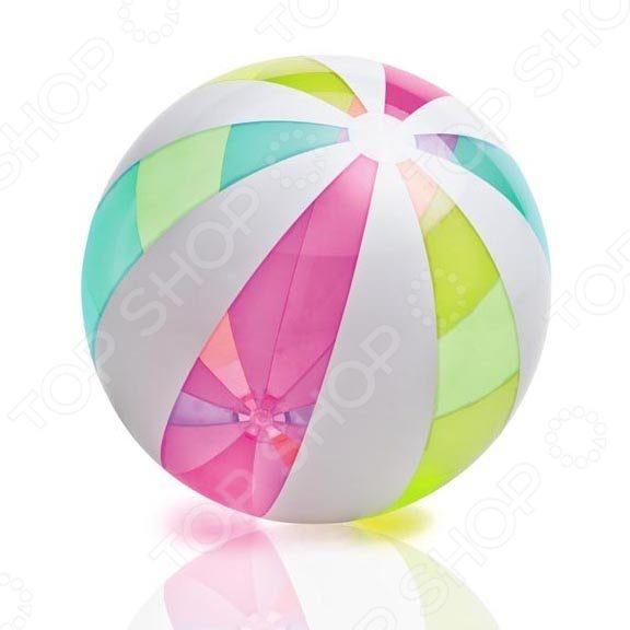 Мяч пляжный Intex Пляжный будет просто незаменим во время отдыха и игр как на берегу, так и в воде. Веселая раскраска мяча поднимет детишкам настроение, а специальный клапан обеспечит родителям удобство транспортировки, ведь мячик можно в любой момент сдуть или надуть самостоятельно. Диаметр мяча 106 см.