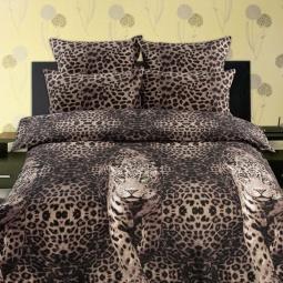 фото Комплект постельного белья Романтика 269393 «Пятнистый леопард». Евро