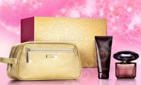 Набор женский: туалетная вода, лосьон для тела и золотая косметичка-клатч Versace Crystal Noir, 100 мл, 90 мл туалетная вода versace crystal noir объем 30 мл вес 80 00