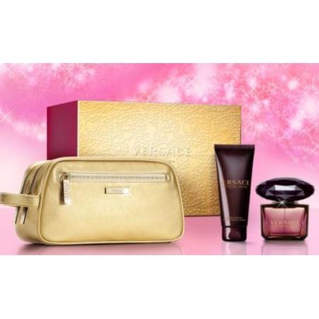 Купить Набор женский: туалетная вода, лосьон для тела и золотая косметичка-клатч Versace Crystal Noir, 100 мл, 90 мл
