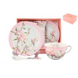 Купить Чайная пара с ложками Elan Gallery «Магнолия» 180689