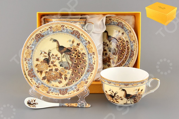 Чайная пара с ложками Elan Gallery «Павлин на бежевом» 180797