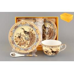 Купить Чайная пара с ложками Elan Gallery «Павлин на бежевом» 180797