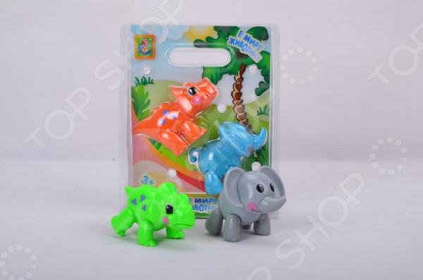 Набор фигурок 1 Toy «Слон и динозавр»Игрушечные животные<br>Набор фигурок 1 Toy Слон и динозавр оригинальный игровой набор, который поможет вашему ребенку познакомиться с миром животных, выучить их названия, ознакомиться с их внешним видом. Игрушки выполнены из качественных материалов, безопасных для здоровья ребенка. В набор входит 2 фигурки.<br>