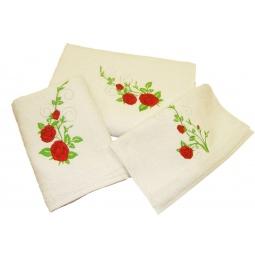 фото Комплект полотенец подарочный TAC Roses. Цвет: молочный