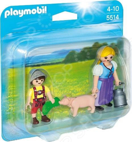Playmobil «Ферма: Набор Крестьянка и мальчик» playmobil ферма золотые ретриверы с щенками
