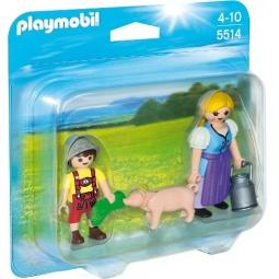фото Конструктор игровой Playmobil «Ферма: Набор Крестьянка и мальчик»