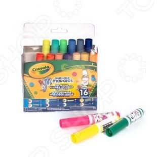 Набор фломастеров Crayola 58-8709 - набор из мини-фломастеров различных цветов. Фломастеры имеют узорные наконечники, что обрадует юного художника. Такими цветами можно будет разукрасить и оформить все что угодно. С ними можно будет выводить под одной, две, три линии за раз и украшать рисунок цветными многоугольниками, наклонными полосами и другими выдуманными узорами. А чтобы ваш маленький дизайнер не испачкался, их сделали смывающимися. На бумаге рисунок будет хорошо держаться, а вот одежда или мебель, зоны где дотянулась рука с фломастером, можно будет легко очистить.
