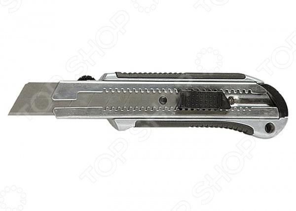 Нож строительный MATRIX MASTER 78959Строительные ножи<br>Нож MATRIX MASTER 78959 станет отличным дополнением к вашему строительному инвентарю. При помощи представленной модели, вы с легкостью заточите карандаш, отрежете необходимый кусок картона или линолеума. Металлический эргономичный обрезиненный корпус обеспечит надежный и уверенный хват. Сегментированное лезвие на усиленной металлической направляющей фиксируется автоматически, поэтому не западет внутрь во время работы. При затуплении лезвия, просто отломите первый сегмент и нож снова начнет резать как по маслу . Замена режущего элемента осуществляется вручную через хвостовую часть ножа.<br>