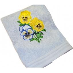 фото Полотенце подарочное с вышивкой TAC Pansies. Цвет: голубой