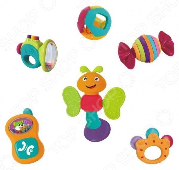 Набор игрушек-погремушек Huile Toys Y61172Погремушки. Подвески<br>Набор игрушек-погремушек Huile Toys Y61172 станет отличным приобретением для вашего крохи. Игры с погремушками будут способствовать развитию у ребенка мелкой моторики рук, хватательного рефлекса и цветового восприятия. Игрушки выполнены в ярких красочных цветах, их края закруглены во избежание травмирования малыша. В набор входят шесть погремушек:  шарик с маленьким гремящим шариком внутри;  бубен;  пчелка с крылышками-прорезывателями;  труба с кнопочками-пищалками;  конфета-трещотка;  телефончик с кнопкой, издающей щелчки.<br>