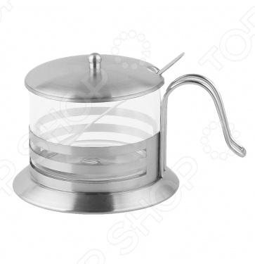 Сахарница с ложкой Zeidan Z-1183-01Сахарницы. Конфетницы<br>Сахарница с ложкой Zeidan Z-1183-01 полезный элемент для сервировки стола. Выполнен из нержавеющей стали и плотного стекла, что гарантирует долгий срок службы и неприхотливость в обслуживании. Модель отличается необычным дизайном, что позволяет использовать сахарницу в том числе и для сервировки праздничного стола.  Высококачественная нержавеющая сталь.  Боросиликатное стекло.  Мерная ложка в комплекте.  Объем 300 мл.<br>
