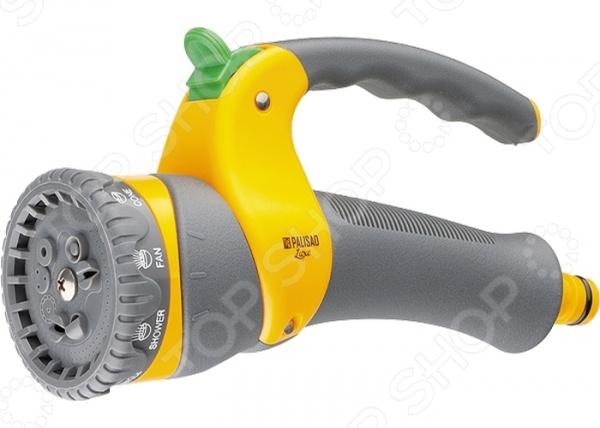 Пистолет-распылитель PALISAD LUXE 65168Пистолеты для полива<br>Пистолет-распылитель PALISAD LUXE 65168 функциональное приспособление, которые облегчает процесс полива огорода, сада или приусадебного участка. Пистолет-распылитель выполнен из ударопрочного материала, который гарантирует долгий срок эксплуатации приспособления. Оснащен регулируемой форсункой, что обеспечивает девять режимов полива: жесткую струю, центральное распыление, конусное распыление, плоско-горизонтальную струю, эффект водопада, распыление типа туман , плоско-вертикальное распыление, душ, распыление под углом. На рукоятке имеется 3-позиционная клавиша подачи остановки напора, позволяющая регулировать интенсивность напора или его остановку. Оснащен функцией плавающая головка , которая дает возможность дополнительно направлять поток воды под углом в 30 вверх или вниз в любом из режимов. Эргономичная конструкция позволяет удобно его держать одной рукой.<br>