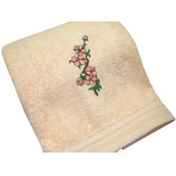 фото Полотенце подарочное с вышивкой TAC Cherry flowers. Цвет: персиковый