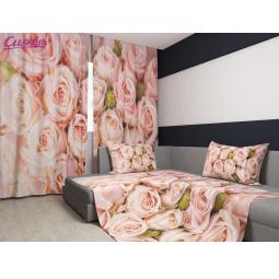 Комплект: фотошторы и покрывало Сирень «Молодые розы»