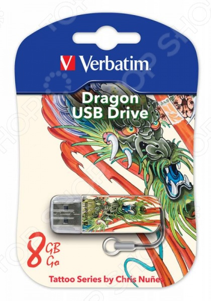 Флешка Verbatim Store 'n' Go Mini Tattoo Dragon 8Gb флешка verbatim store n go mini tattoo koi 8gb