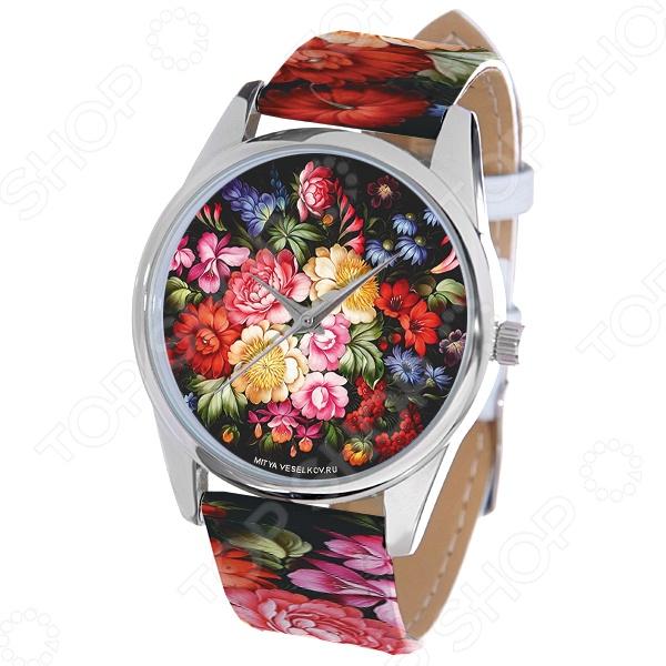 Часы наручные Mitya Veselkov «Жостово-1» ARTНаручные часы унисекс<br>Часы наручные Mitya Veselkov Жостово-1 ART стильный аксессуар, который дополнит ваш образ. Сочетаются с необычной и яркой одеждой. Часы выполнены в оригинальном стиле в сочетании с приятными и мягкими тонами, которые добавляют настроение. Дизайн и ручная сборка Митя Весельков. Снабжены регулируемым под запястье ремешком из натуральной кожи с классической застежкой. Часовой механизм: кварцевый, Citizen Япония . Стекло минеральное с PVD покрытием. Корпус изготовлен из сплава металлов, а крышка из стали.<br>