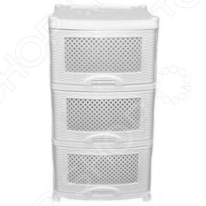 Комод Violet 0353 Плетенка белая представляет собой удобный и практичный предмет мебели, который отлично впишется в интерьер вашей ванной комнаты, кухни или спальни. Модель снабжена тремя выдвижными ящиками, подходит для хранения вещей, различных аксессуаров и принадлежностей. Комод изготовлен из высококачественного ударопрочного пластика.