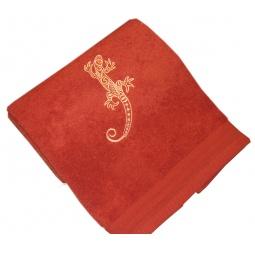фото Полотенце подарочное с вышивкой TAC Salamander. Цвет: терракотовый