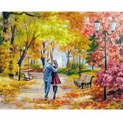 фото Раскраска по номерам Белоснежка 142-AB «Осенний парк, скамейка, двое»
