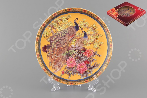 Тарелка декоративная Elan Gallery «Павлин на золотом» тарелки декоративные elan gallery тарелка декоративная павлин на красном