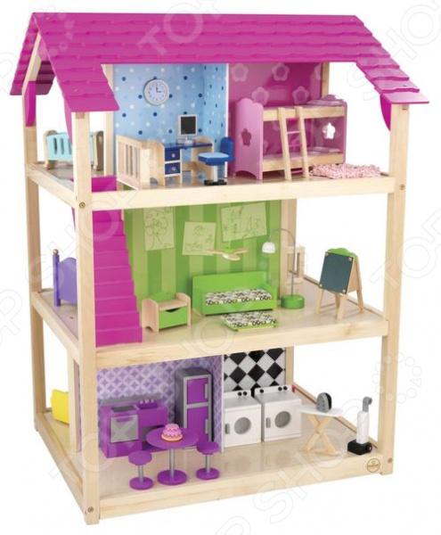 Кукольный дом с аксессуарами KidKraft «Самый роскошный»Кукольные домики. Мебель<br>Кукольный домик заветная мечта каждой девочки Не секрет, что каждая девочка мечтает о своем кукольном домике. В списке детских подарков эта игрушка числится одной из самых желанных, заветных и востребованных. Почему спросите вы. Думаем, ответ очевиден: кукольный домик это не просто игрушка, это целая игровая площадка! Кукольный дом с аксессуарами KidKraft Самый роскошный станет чудесным подарком для вашей маленькой принцессы. Теперь игры с любимыми куклами будут еще интересней и увлекательней! Что немаловажно, они станут и более приближены к реальной жизни, ведь не секрет, что дети склонны во всем подражать взрослым. В процессе таких игр малыши не только учатся выстраивать отношения с окружающими, но и примеряют на себя различные социальные роли.  Совсем как настоящий Домик очень просторный и уютный, выполнен из натурального дерева и предназначен для кукол размером не более 30 см Барби, Штеффи, Мокси, Братц, Эвер Афтер Хай и др. . Он имеет полностью открытую конструкцию и насчитывает целых четыре этажа. Для большей мобильности к основанию домика крепятся вращающиеся ролики.  1 этаж кухня, столовая, комната отдыха и прачечная.  2 этаж просторная гостиная и спальня.  3 этаж спальня и ванная комната.  4 этаж ванная, детская, комната новорожденного и рабочий кабинет.  Каждая комната имеет свой неповторимый дизайн и отличается великолепной проработкой деталей. Достигается это, благодаря художественному украшению стен и наличию большого количества разнообразных аксессуаров:  Кухня холодильник, плита, раковина, круглый столик с двумя табуретами и игрушечный тортик.  Столовая обеденный столик, два стульчика с тканевыми чехлами и корзина с фруктами.  Комната отдыха диванчик с подушкой, журнальный столик, торшер, ковер, камин и телевизор.  Прачечная стиральная и сушильная машинки, гладильная доска с утюгом и вертикальный пылесос.  Спальня кровать с подушками и прикроватный столик с лампой.  Гос