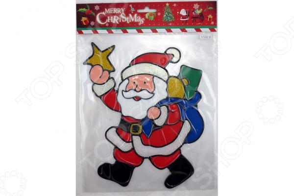 Новогодняя наклейка на стекло Crystal Deco «Санта с подарками» 1707857Новогодние украшения<br>Новогодняя наклейка на стекло Crystal Deco Санта с подарками замечательный декоративный элемент, который поможет создать атмосферу праздника и подарит новогоднее настроение. Изделие прекрасно само по себе, однако в сочетании с другими новогодними атрибутами будет смотреться еще лучше. Наклейка предназначена для декорирования стеклянных поверхностей. Изделие выполнено из необычного мягкого пластика, напоминающего по свойствам пластилин. Размер 22х26 см.<br>