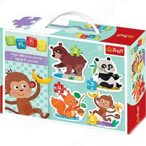 Набор пазлов Trefl «Деликатесы»Пазлы для малышей<br>Набор пазлов Trefl Деликатесы предназначен для таких маленьких, но уже таких любознательных малышей. Внутри упаковки находятся 4 пазла. Части изображения соединяются между собой с помощью пазлового замка. Собрав все элементы воедино, у ребенка получатся яркие картинки, на которых изображены обезьянка, медведь, панда и белочка. Каждый персонаж пазла состоит из разного количества частей от 2 до 5 . Набор пазлов Trefl Деликатесы изготовлен из абсолютно безопасного материала, поэтому замечательно подойдет для детей. Толщина каждого элемента составляет 4 мм. Головоломка развивает усидчивость, наблюдательность, образное восприятие и логическое мышление. Постоянно манипулируя деталями, ребенок улучшает мелкую моторику рук и координацию движений.<br>
