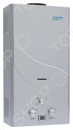 Водонагреватель Oasis 12 WВодонагреватели<br>Водонагреватель Oasis 12 W это качественный газовый водонагреватель, который поможет получать горячую воду в квартирах, частных домах и коттеджах, которые оборудованы дымоходом. Принцип работы этого водонагревателя достаточно прост вода проходит через теплообменник прибора и нагревается. Наличие специального переключателя Зима-Лето позволяет экономить до 70 кубических метров в год. Преимущества водонагревателя:  элегантный и компактный дизайн;  электронное зажигание при включении крана горячей воды;  высокий КПД более 90 ;  возможность работы при пониженном давлении газа.<br>