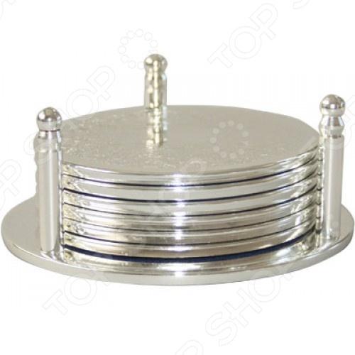 Набор подставок под горячее Rosenberg S-1709Коврики и подставки под горячее<br>Набор подставок под горячее Rosenberg S-1709 набор простых и практичных кухонных аксессуаров, которые помогут спасти ваш стол от слишком горячих тарелок, форм, стаканов, небольших кастрюль сковородок. Подставки-подстаканники выполнены из качественного металла, который обеспечивает надежную защиту покрытия вашего обеденного стола. Простой, но элегантный дизайн является приятным бонусом, который позволяет разместить набор прямо за праздничным столом. Для большего удобства предусмотрена специальная подставка для компактного хранения подставок.<br>