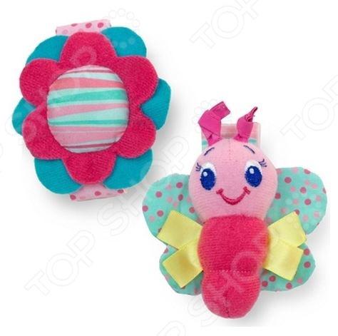 фото Игрушка-погремушка на руку Bright Starts «Бабочка и цветочек», Погремушки. Подвески