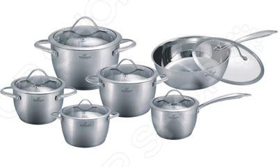 Набор кухонной посуды Bohmann BH-1212GНаборы посуды для готовки<br>Набор кухонной посуды Bohmann BH-1212G станет отличным дополнением к набору вашей кухонной утвари. Посуда функциональна и универсальна в использовании, подойдет для варки супов, гарниров, макарон, овощей, компотов и т.д. Кастрюли выполнены из высококачественной нержавеющей стали, а внутренняя поверхность идеально ровная, что облегчает ручное мытьё. Такой материал не вступающим в реакции с продуктами и не искажающим вкус приготовленных блюд. Крышки изготовлены из закаленного жаростойкого стекла, снабжены металлическим ободком для защиты от сколов и пароотводом. При необходимости посуда легко моется в посудомоечной машине. В комплекте вы найдете: ковш, 4 кастрюли с ручками под серебро, сковорода имеет противопригарный слой керамического покрытия. Размеры: ковш 16см х 10,5см с крышкой 2,1л кастрюли: 16см х 10,5см с крышкой 2,1л, 18см х 11,5см с крышкой 2,9л, 20см х 12,5см с крышкой 3,9л, 24см х 14,5см с крышкой 6,6л, сковорода 24см х 7,5см с крышкой 3,4л.<br>