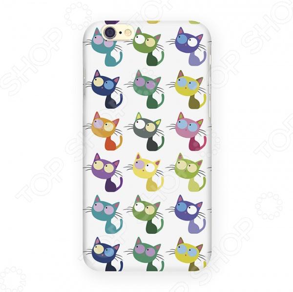 Чехол для iPhone 6 Mitya Veselkov «Цветные кошки в ряд» цена 2017