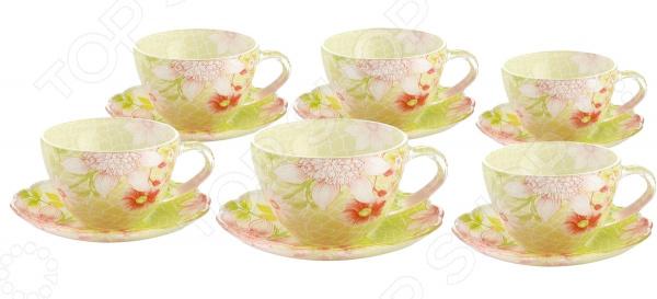 Чайный набор Bekker BK-5849Чайные и кофейные наборы<br>Чайный набор Bekker BK-5849 не просто станет прекрасным дополнением к набору кухонных принадлежностей, но и внесет яркий акцент в сервировку вашего стола. К тому же, он будет отличным приобретением или подарком для любителей чая и позволит превратить обычное чаепитие в настоящий ритуал. Посуда отличается стильным дизайном и великолепным качеством исполнения, изготовлена из высококачественного стекла и украшена оригинальным цветочным рисунком. В комплект входят шесть чайных чашек с блюдцами. Набор упакован в подарочную коробку.<br>