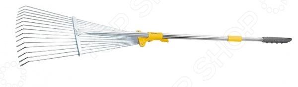 Грабли веерные телескопические PALISAD LUXE 61787Грабли<br>Грабли веерные телескопические PALISAD LUXE 61787 это незаменимый инструмент, который необходим каждому владельцу частного дома. С их помощью вы можете собирать скошенную траву, опавшую листву или плоды, использовать в качестве разрыхлителя для почвы. Металлические грабли отличаются повышенной жесткостью, поэтому подойдут для работы с дерном. Можно отметить следующие достоинства этого садового инструмента:  Грабли применяются для чистки газонов от скошенной травы или листьев, при этом, не повреждая сам газон.  Зубья выполнены из пружинной стали 65Г и имеют повышенную жесткость, что обеспечивает удобство в работе.  Длина черенка изменяется в диапазоне 500 мм. Зубья закреплены на подвижной, скользящей по черенку втулке, которая фиксируется эксцентриковым зажимом в любом положении, изменяя ширину захвата.  15 круглых зубьев, охват рабочей части от 190 до 550 мм.<br>